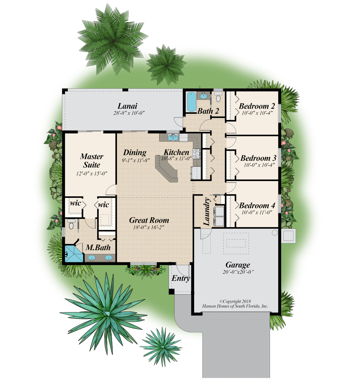 The Huntington Extended Lanai Home Plan Floor Plans