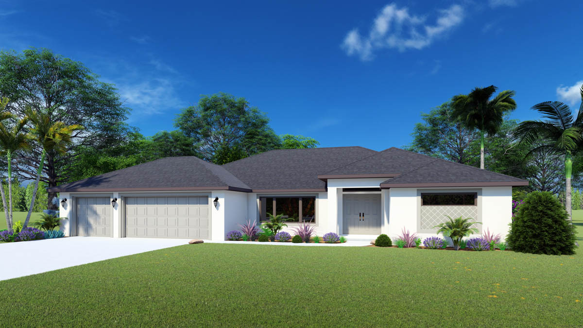 The Oasis 3 Car Garage Home Plan